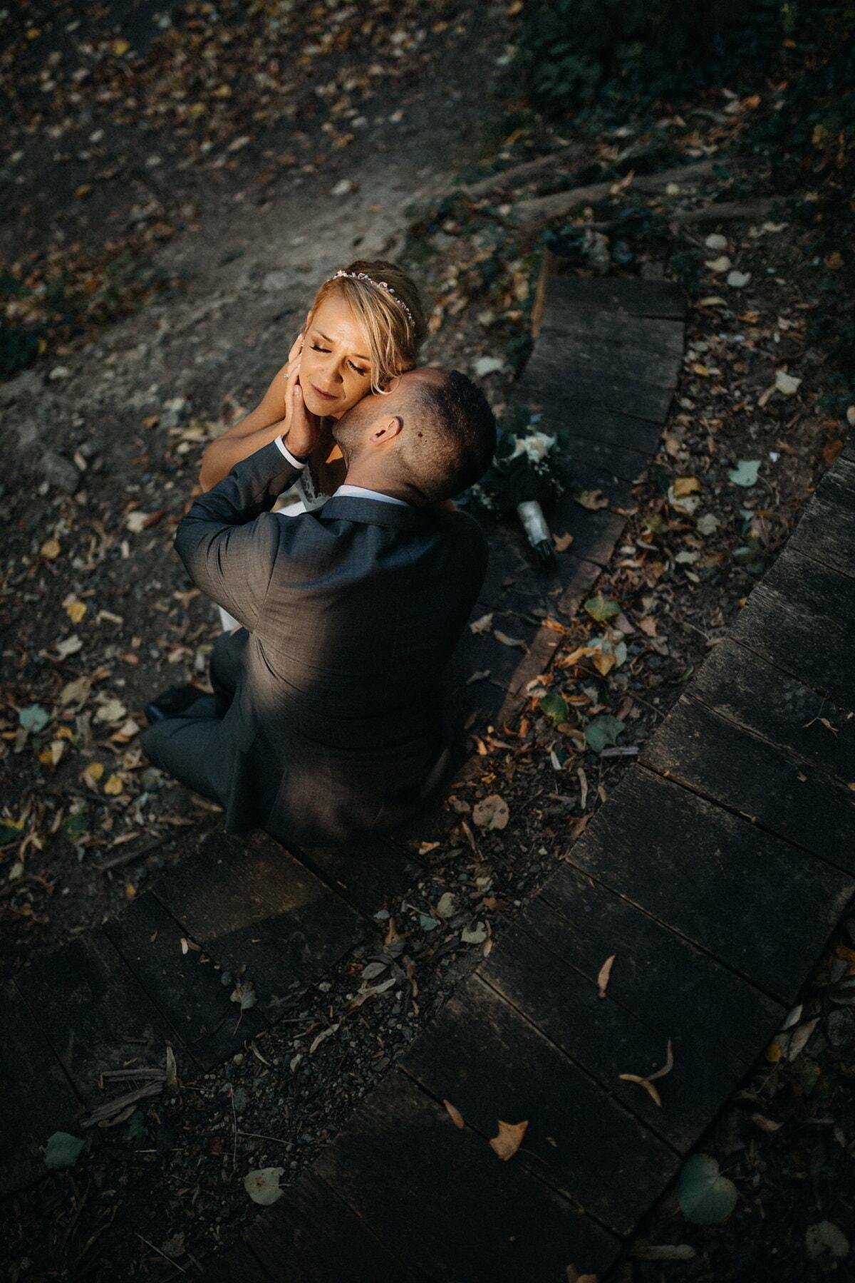 Liebesbeziehung, Gentleman, Liebhaber, Hals, Kuss, Zärtlichkeit, Zuneigung, Menschen, Mädchen, Porträt