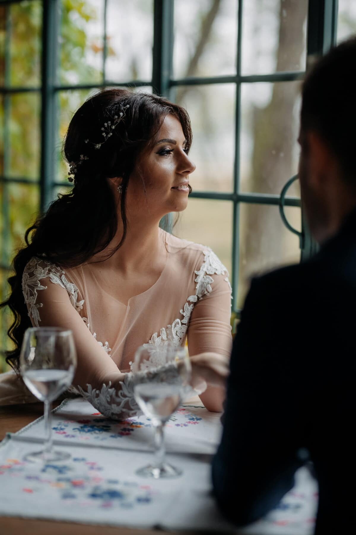 Liebesbeziehung, Restaurant, hübsches mädchen, herrlich, romantische, Frau, Menschen, Porträt, Mädchen, Liebe