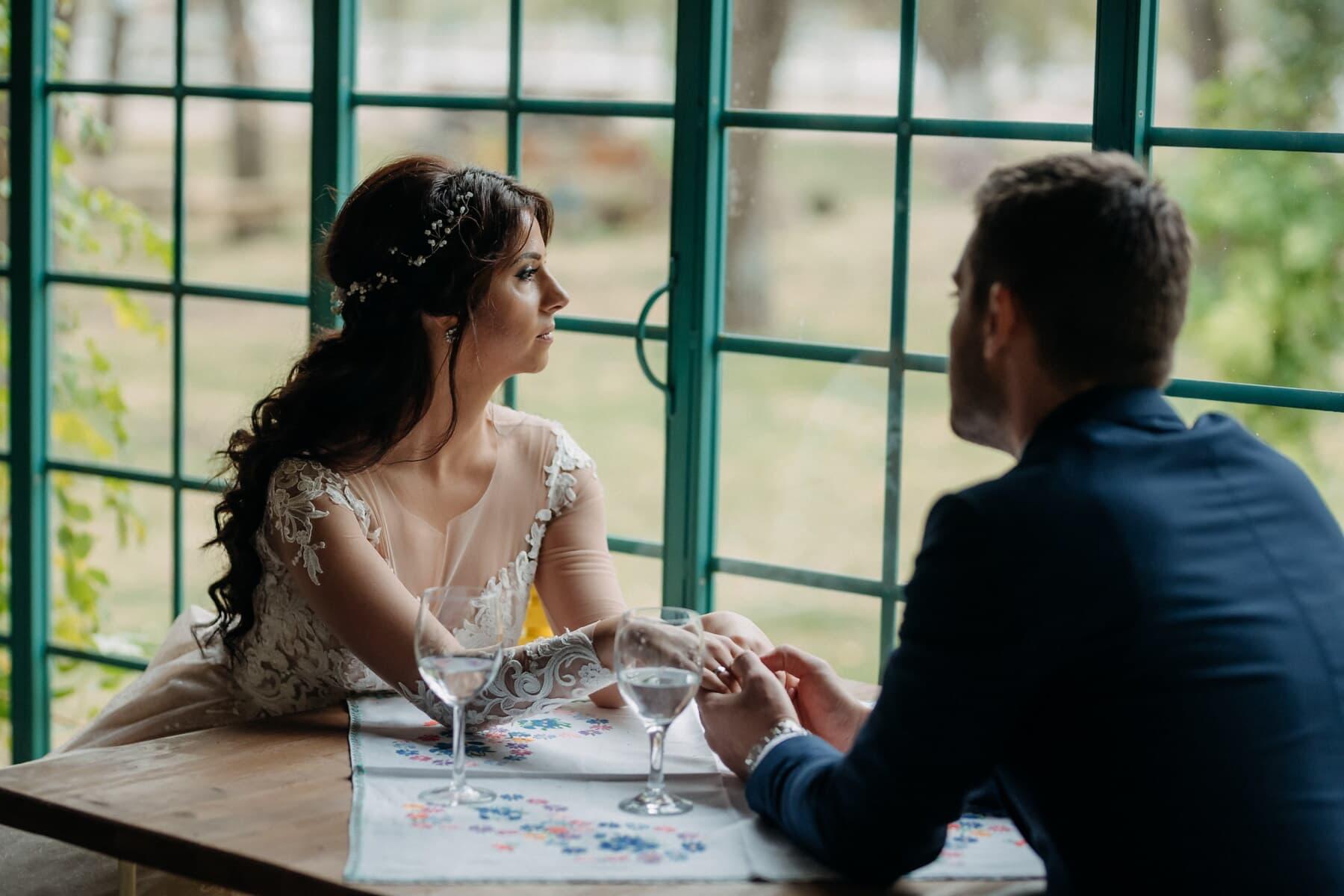 Liebesbeziehung, romantische, champagner, Restaurant, Liebe, Zärtlichkeit, Menschen, Frau, Tabelle, drinnen
