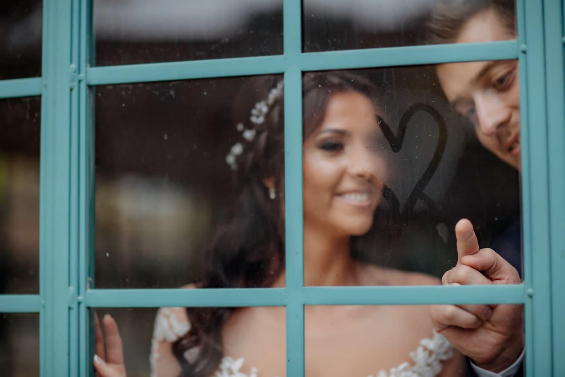 fukt, finger, fönster, hjärta, pojkvän, flickvän, romantiska, älskare, lycka, kärlek