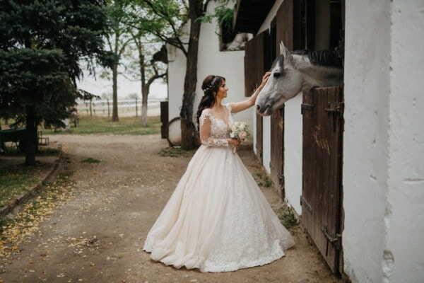 bride, horse, farmland, farmhouse, barn, backyard, wedding venue, countryside, village, wedding dress