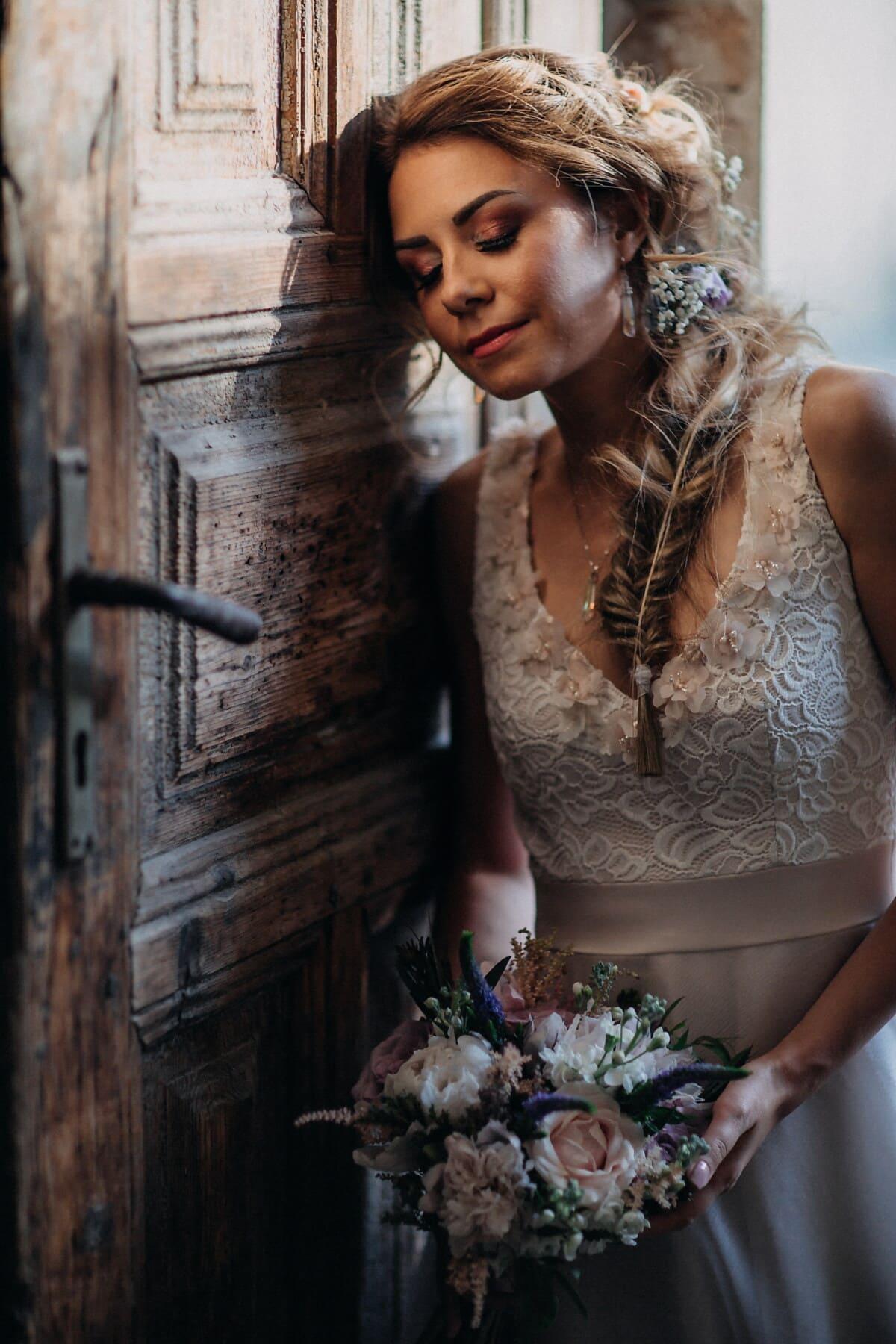 nymph, bride, gorgeous, front door, woman, attractive, fashion, portrait, pretty, model