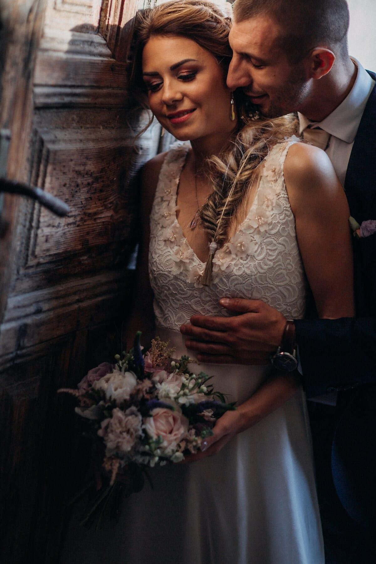 gentleman, neck, kiss, face, pretty girl, gorgeous, bride, bouquet, dress, people