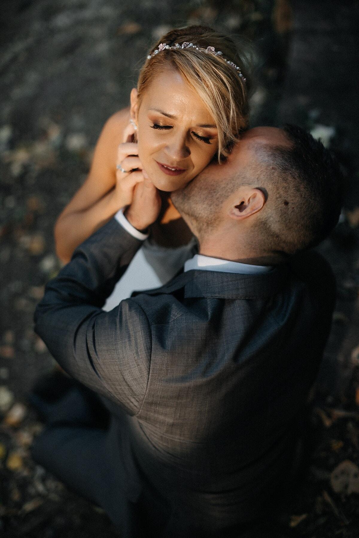 man, Kyss, hals, flickvän, tillgivenhet, ömhet, herre, njutning, lady, kvinna