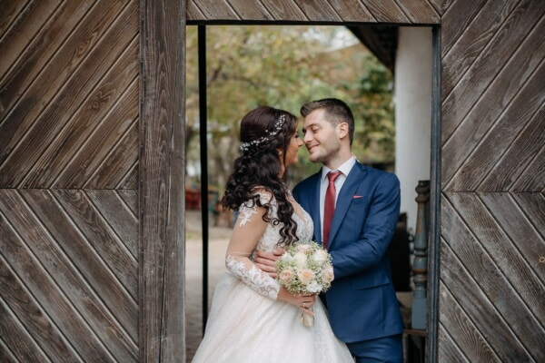 gateway, groom, bride, gate, hugging, wedding, love, bouquet, dress, marriage