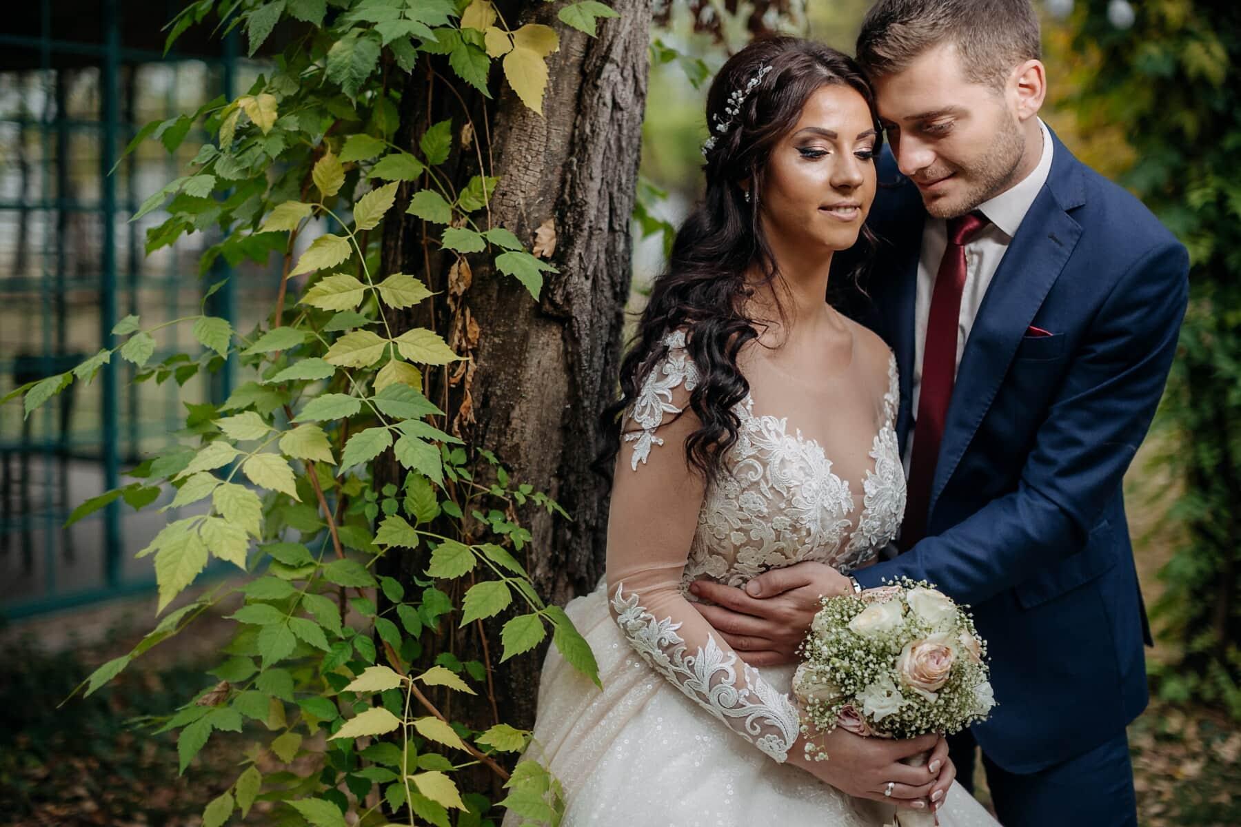 bruid, liefde, bruidegom, huwelijk, Aftelkalender voor Valentijnsdag, boeket, paar, bruiloft, betrokkenheid, jurk
