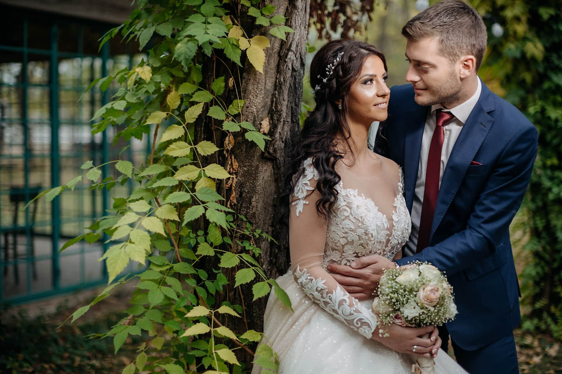 emotion, affection, tenderness, bride, groom, portrait, side view, dress, married, bouquet