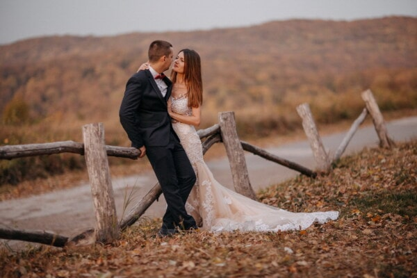 autumn, road, bride, groom, countryside, romantic, fence, girl, nature, wedding