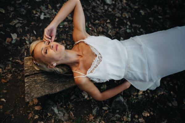sleeping beauty, sleep, outdoor, forest, bench, blonde hair, gorgeous, model, portrait, girl