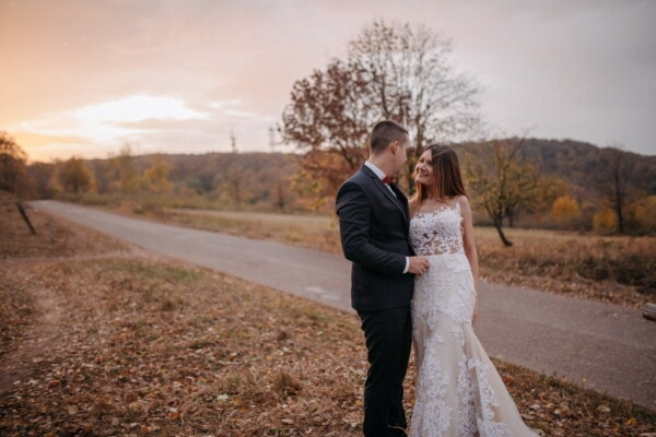 sunset, road, newlyweds, bride, groom, autumn season, countryside, wedding, couple, love