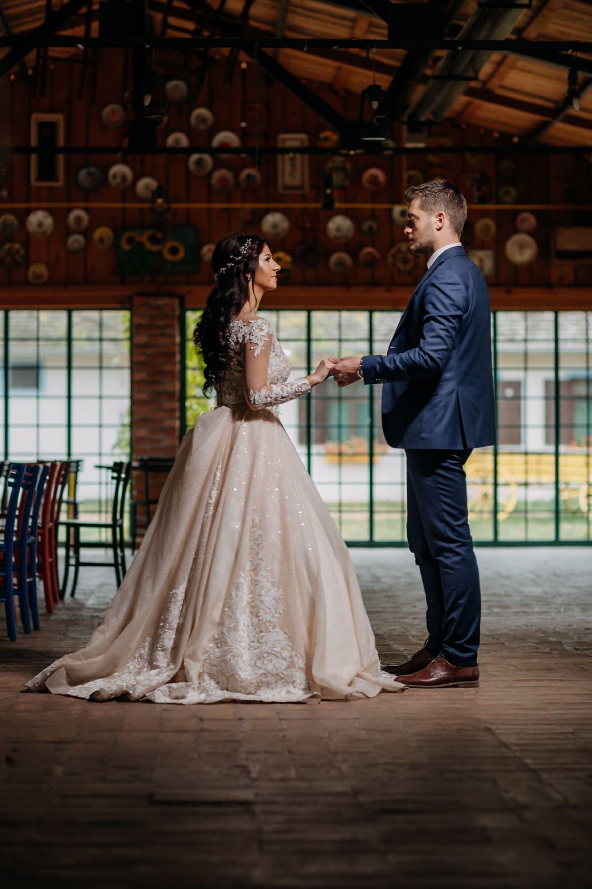 Tanz, tanzen, Jungvermählten, Ehefrau, Bräutigam, Mann, Braut, Liebe, Menschen, Kleid