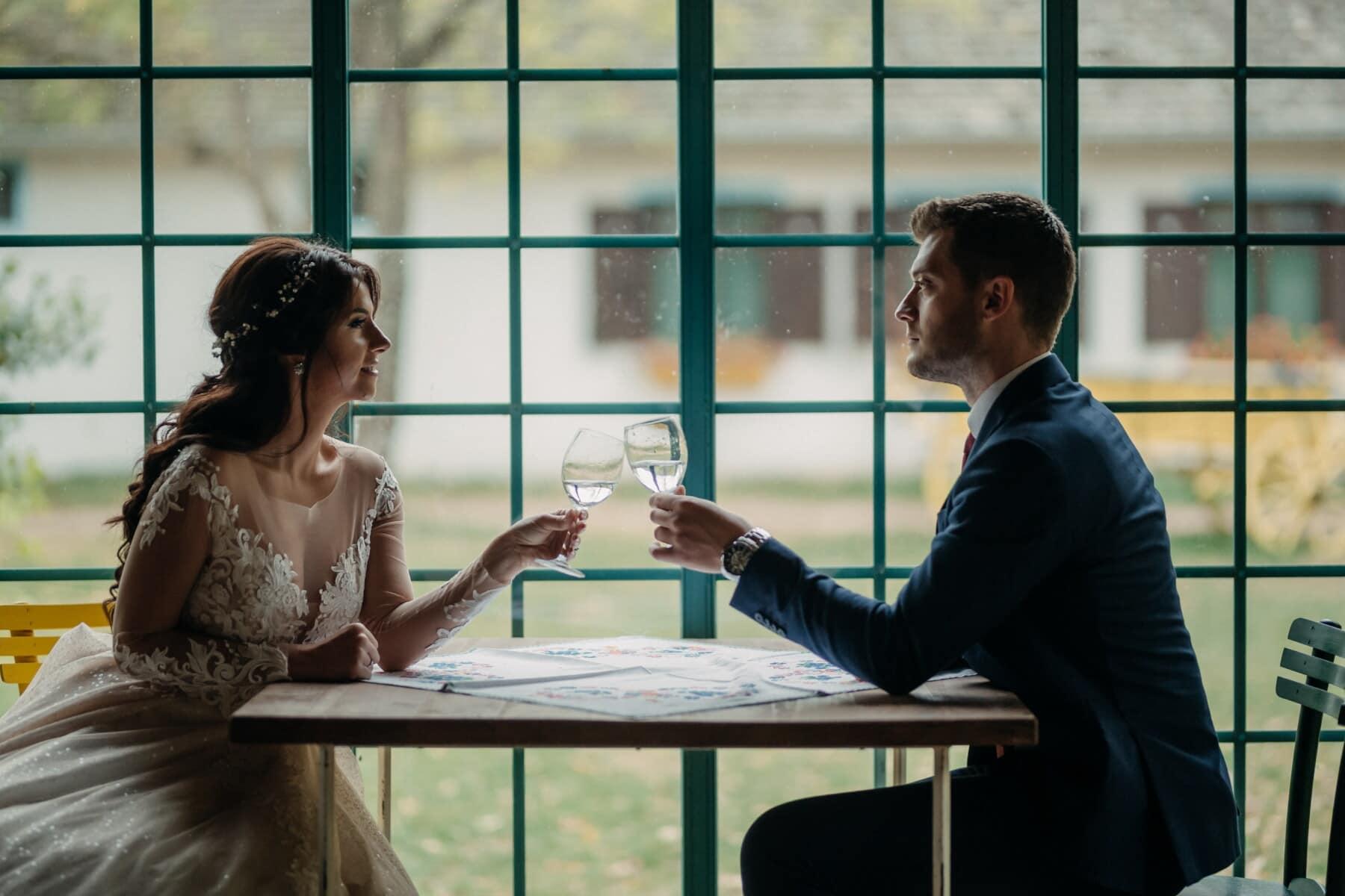 romantiska, flickvän, lunch, pojkvän, champagne, sitter, tabell, herre, bybo, Vardagsrum