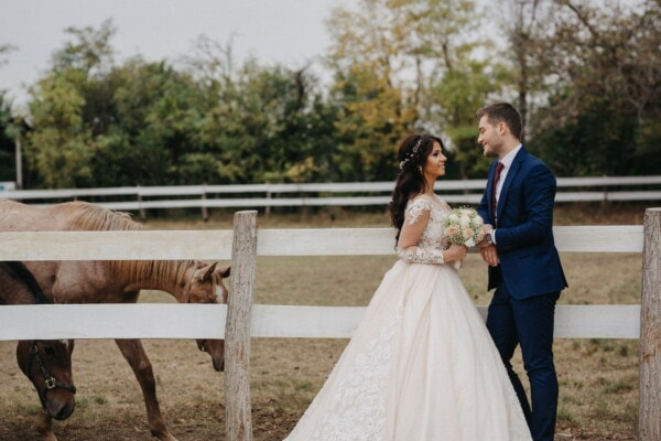 ranch, groom, wedding dress, bride, wedding venue, horses, girl, dress, wedding, love