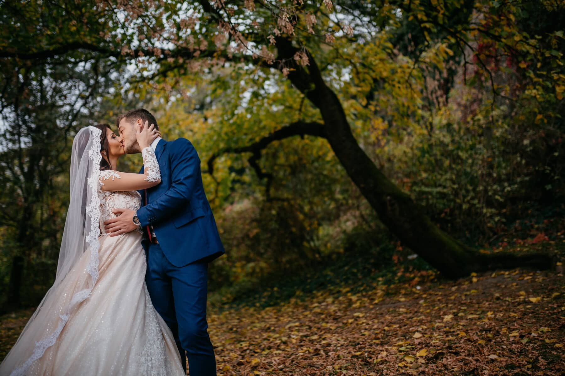 bride, kiss, romantic, groom, wedding dress, forest, autumn, love, engagement, girl
