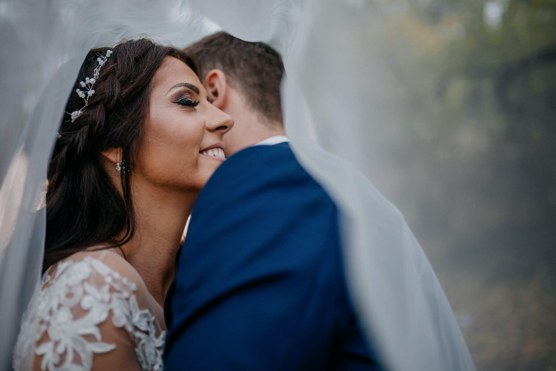 geluk, bruid, vrouw, glimlach, schouder, man, bruidegom, bruiloft, liefde, vrouw