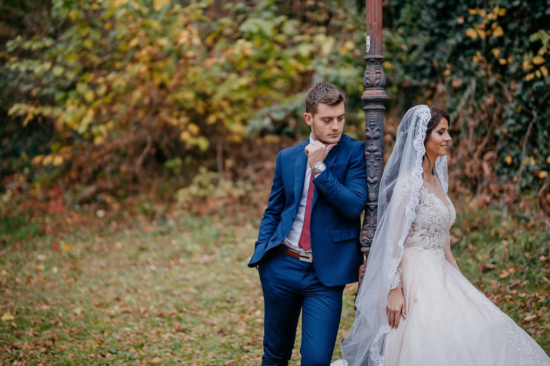 Braut, Bräutigam, stehende, Hochzeit, Gentleman, Hochzeitskleid, Liebe, Ehe, paar, Mädchen