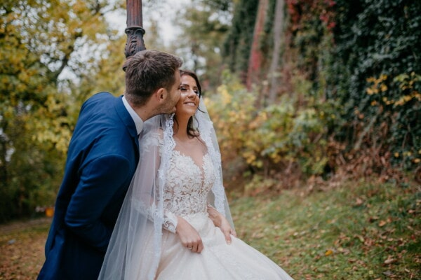 newlyweds, wedding dress, enjoyment, happiness, kiss, autumn season, joy, love, groom, bride