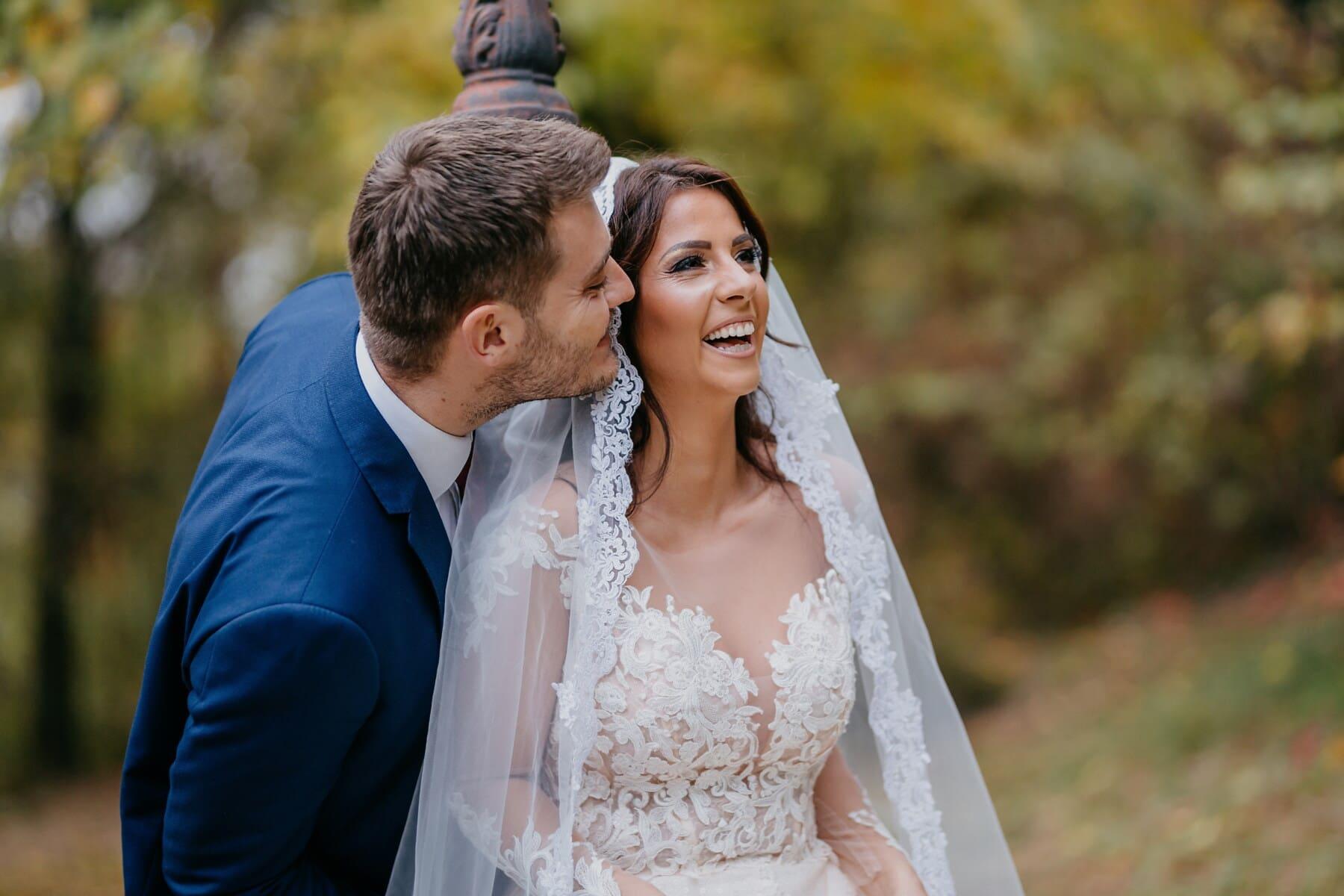 bonheur, la mariée, éclat de rire, joie, jouissance, gentilhomme, dame, sourire, jeunes mariés, couple