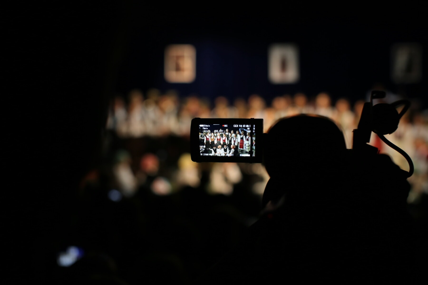 video recording, video, digital camera, dark, audience, auditorium, theater, darkness, people, blur