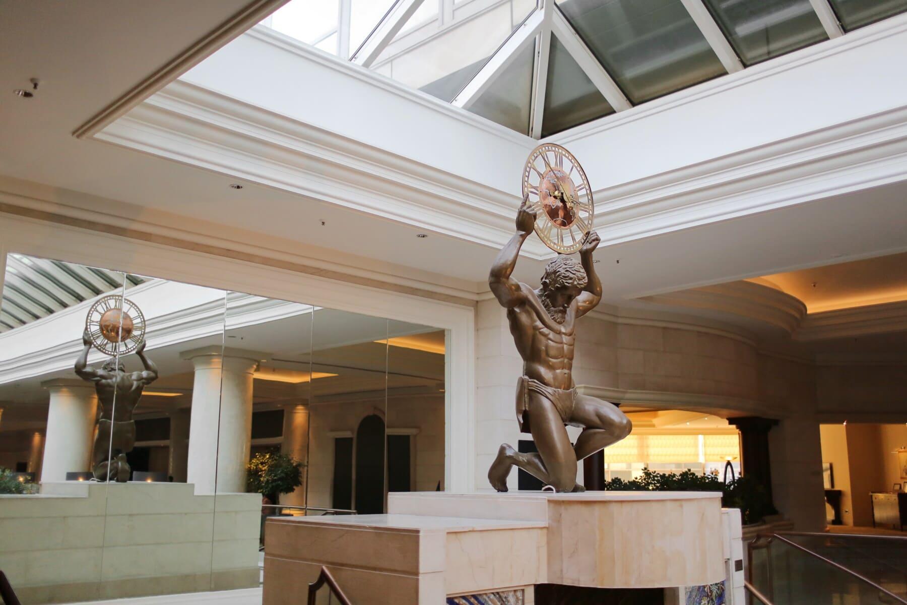 atrium, residence, hallway, anteroom, luxury, sculpture, indoors, architecture, interior design, room