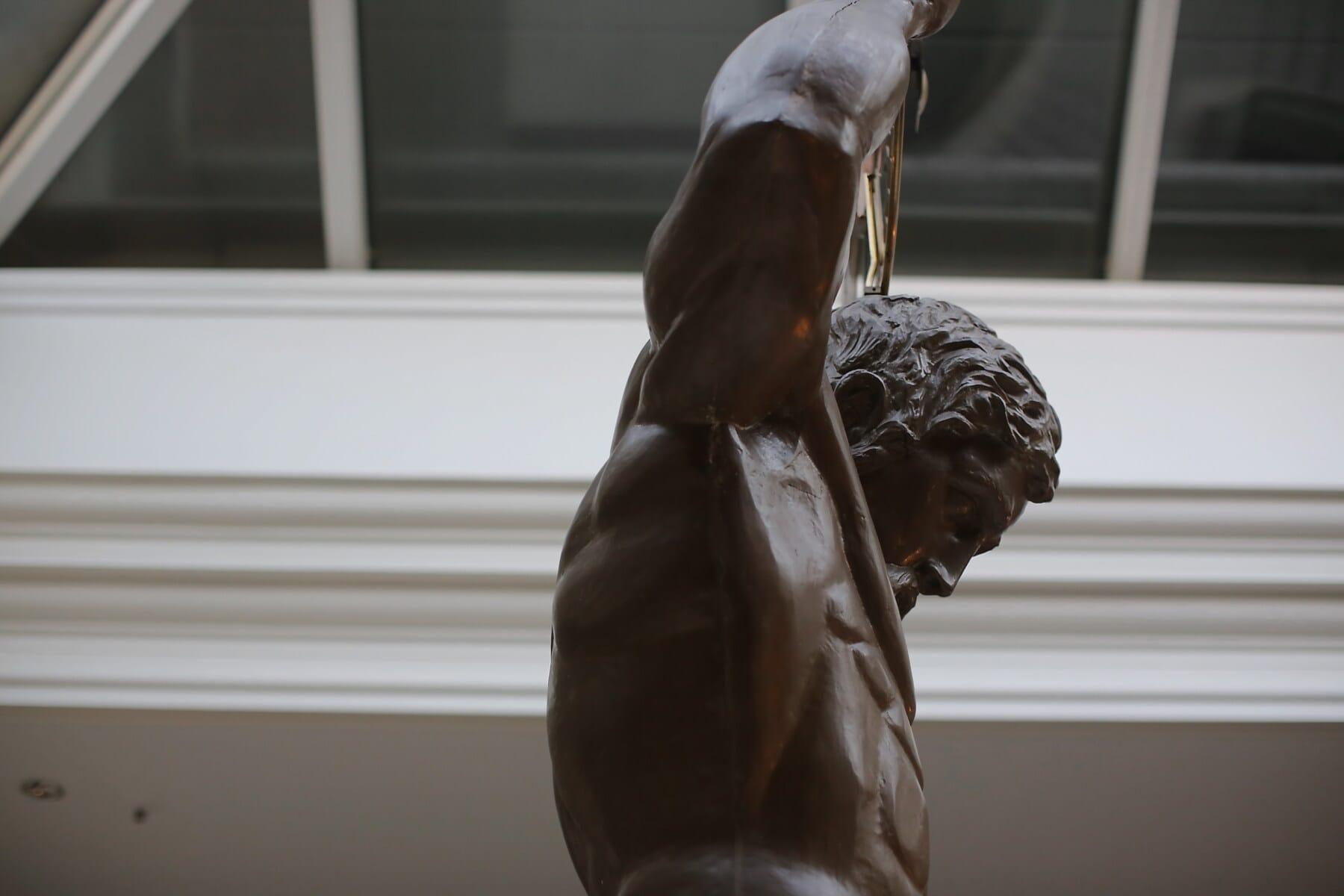 man, muscular, sculpture, atrium, bronze, art, side view, statue, portrait, indoors