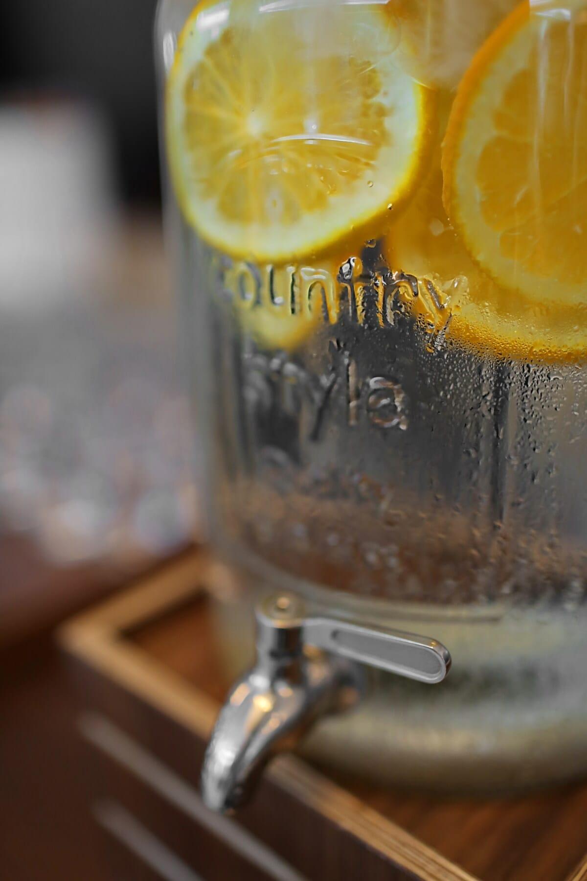 limonade, eau froide, eau potable, cocktail de fruits, frais, humidité, verre, boisson, à l'intérieur, Wet