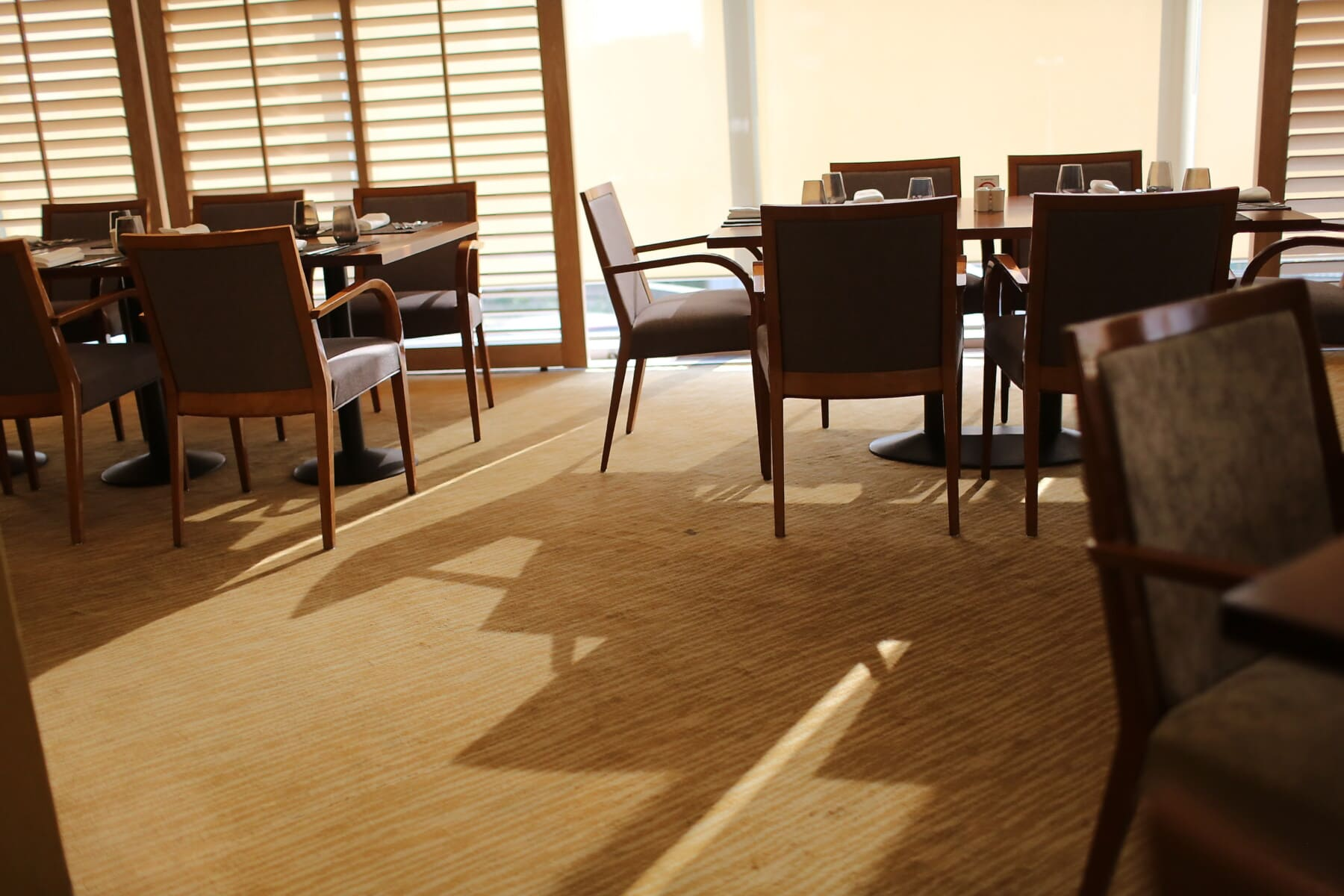 hotel, dining area, cafeteria, empty, furniture, table, chair, seat, room, interior