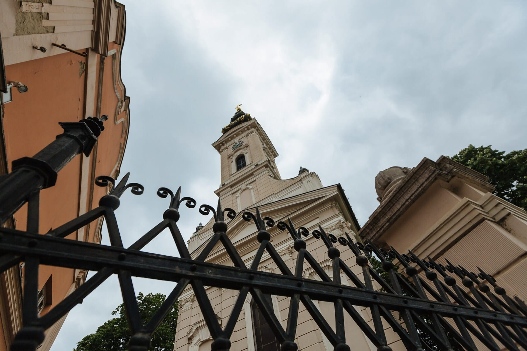 church, fence, cast iron, cathedral, architecture, tower, old, traditional, religion, outdoors