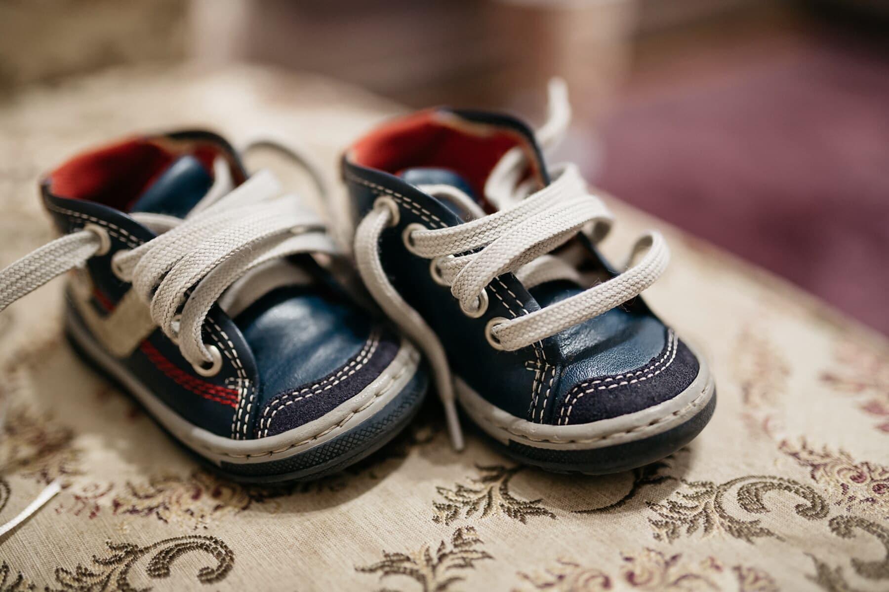 giày thể thao, thu nhỏ, em bé, dây giày, da, giày dép, thời trang, Cặp, bao gồm, cũ