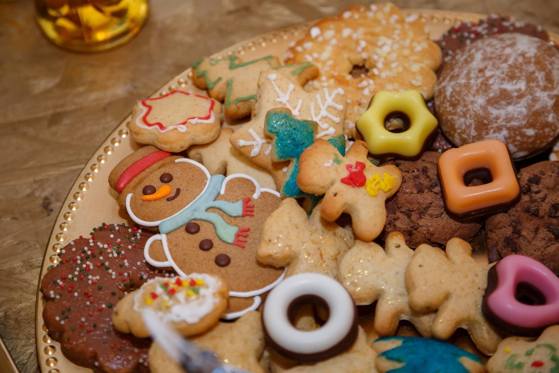 Ingwer, kekse, Schneemann, Keks, Dekoration, Lebkuchen, keks, Backwaren, Essen, Mahlzeit