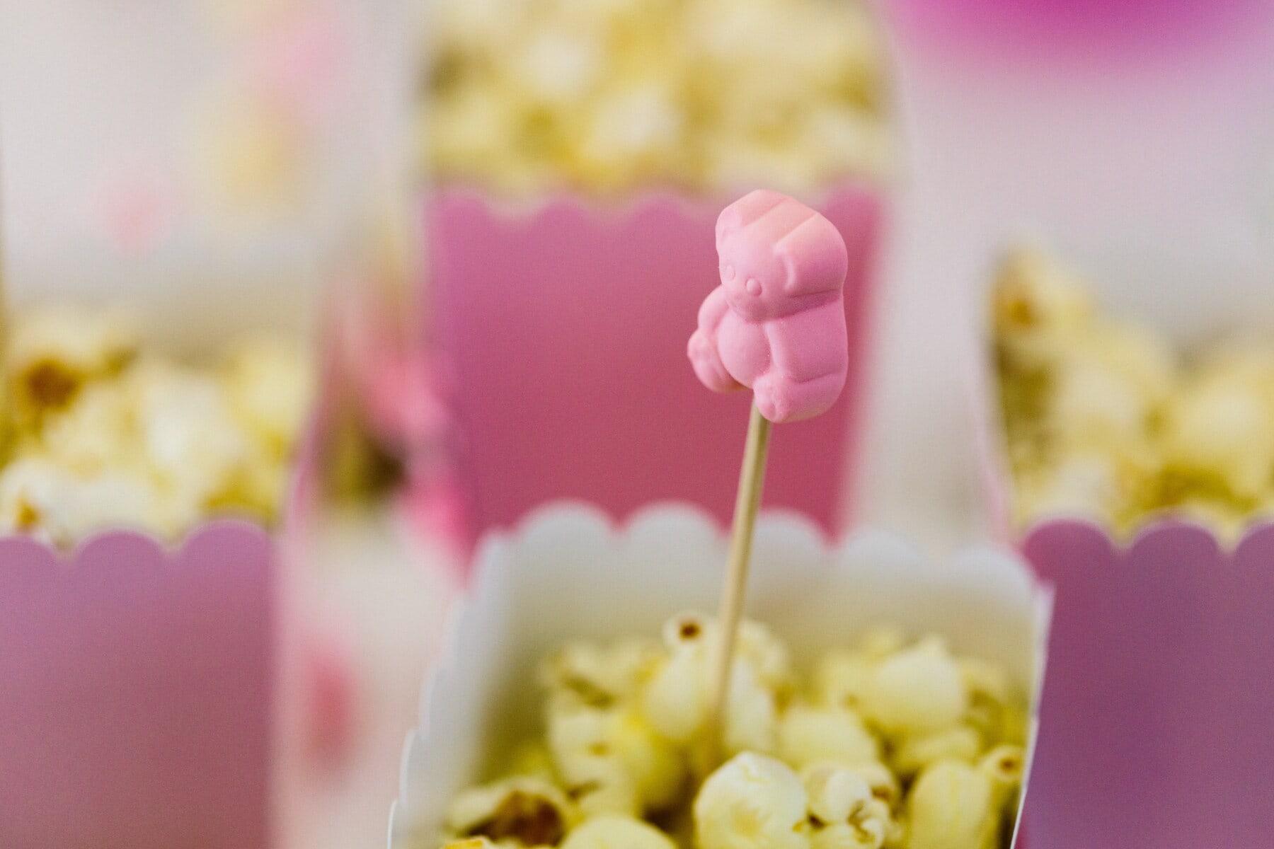 Popcorn, Rosa, Teddybär Spielzeug, dekorative, Lutscher, Rosa, Essen, sehr lecker, traditionelle, verwischen