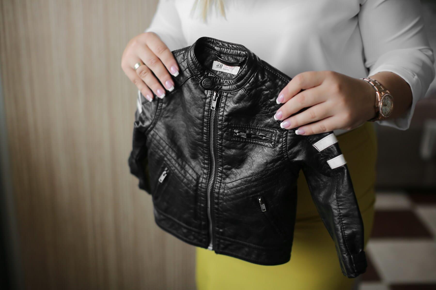 miniature, noir, veste, en cuir, mode, vêtement, denim, femme, vêtements, gens