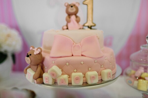baby, decoration, teddy bear toy, birthday cake, celebration, party, confectionery, cake, candle, indoors