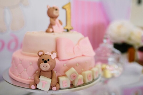 cake, birthday cake, pinkish, teddy bear toy, confectionery, birthday, candy, indoors, luxury, chocolate