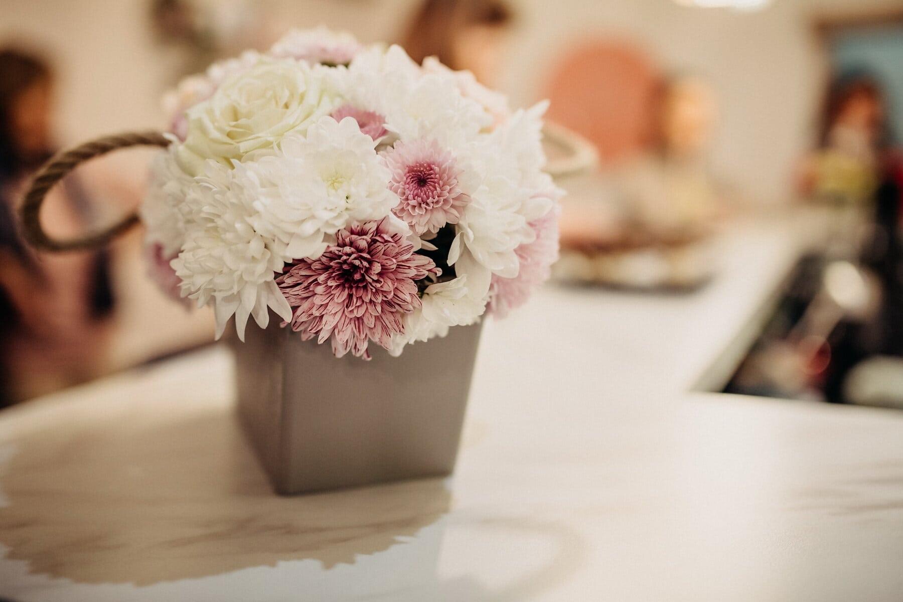 情人节, 礼物, 束, 柔和, 表, 装饰, 安排, 粉色, 花, 婚礼