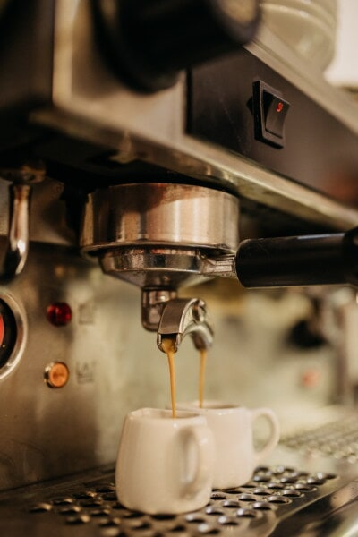cafeteria, espresso, beverage, coffee, indoors, machinery, food, caffeine, blur, kitchenware