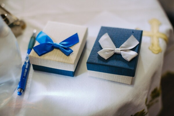 boxes, decoration, miniature, gifts, packages, blue, present, ribbon, thread, gift