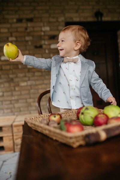 child, boy, toddler, young, bowtie, tuxedo suit, gentleman, fruit, apples, apple