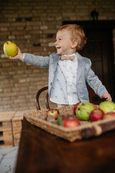 barn, Dreng, buksetrold, unge, selvbinder butterfly, smokingdragt, gentleman, frugt, æbler, æble