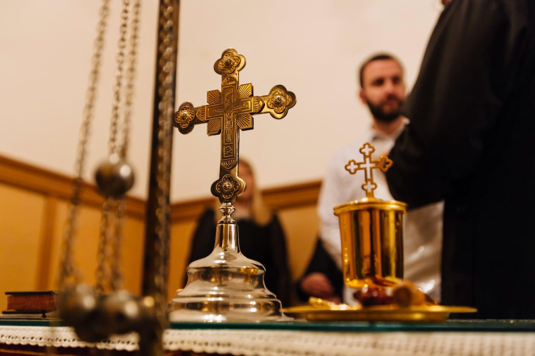 religion, golden shine, cross, priest, church, brass, indoors, spirituality, gold, prayer
