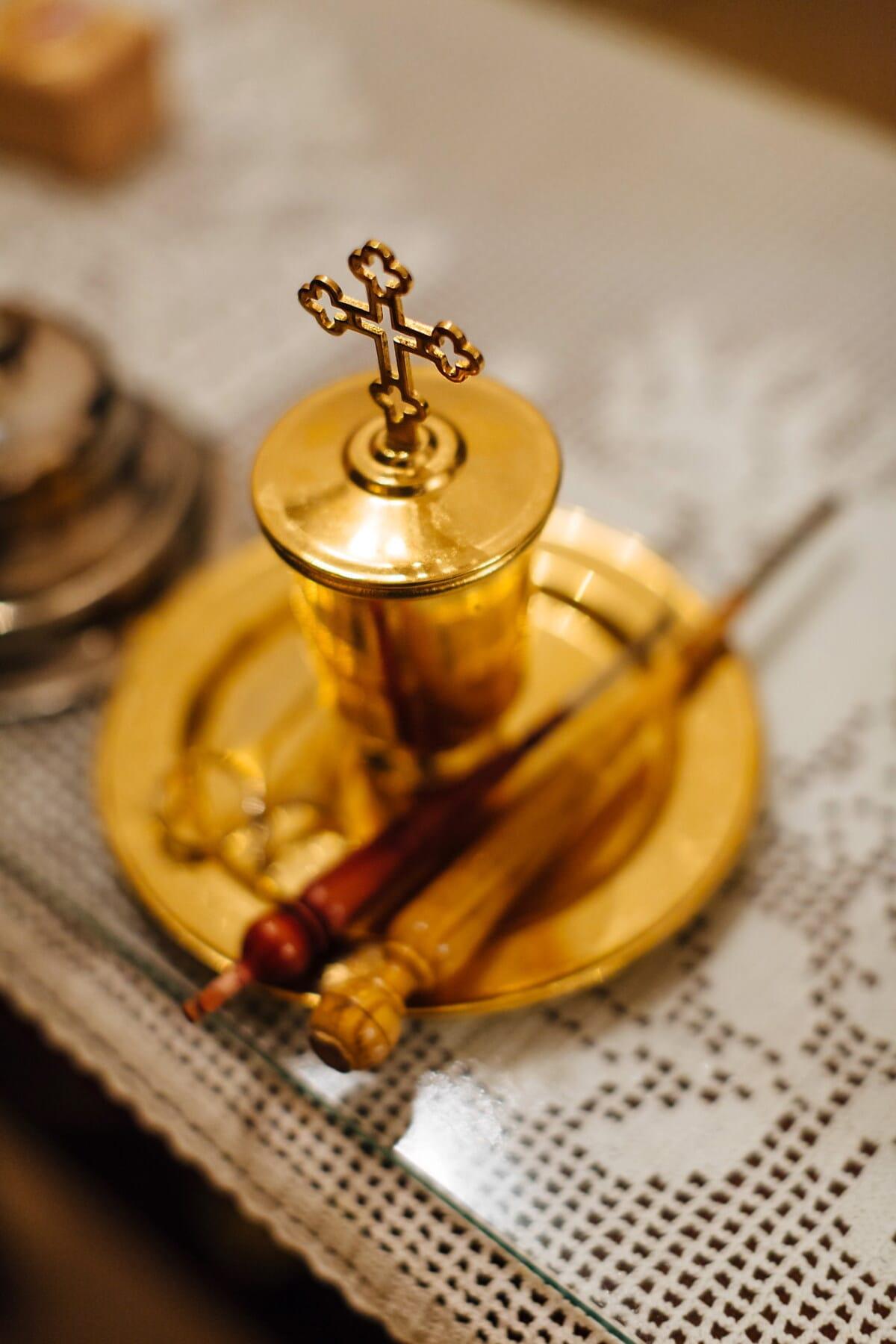 cross, christianity, orthodox, golden shine, tableware, still life, traditional, flatware, wood, food