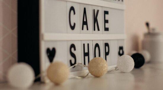 торт магазин, абетка, знак, текст, елегантний, декоративні, прикраса, дизайн, приміщенні, бізнес