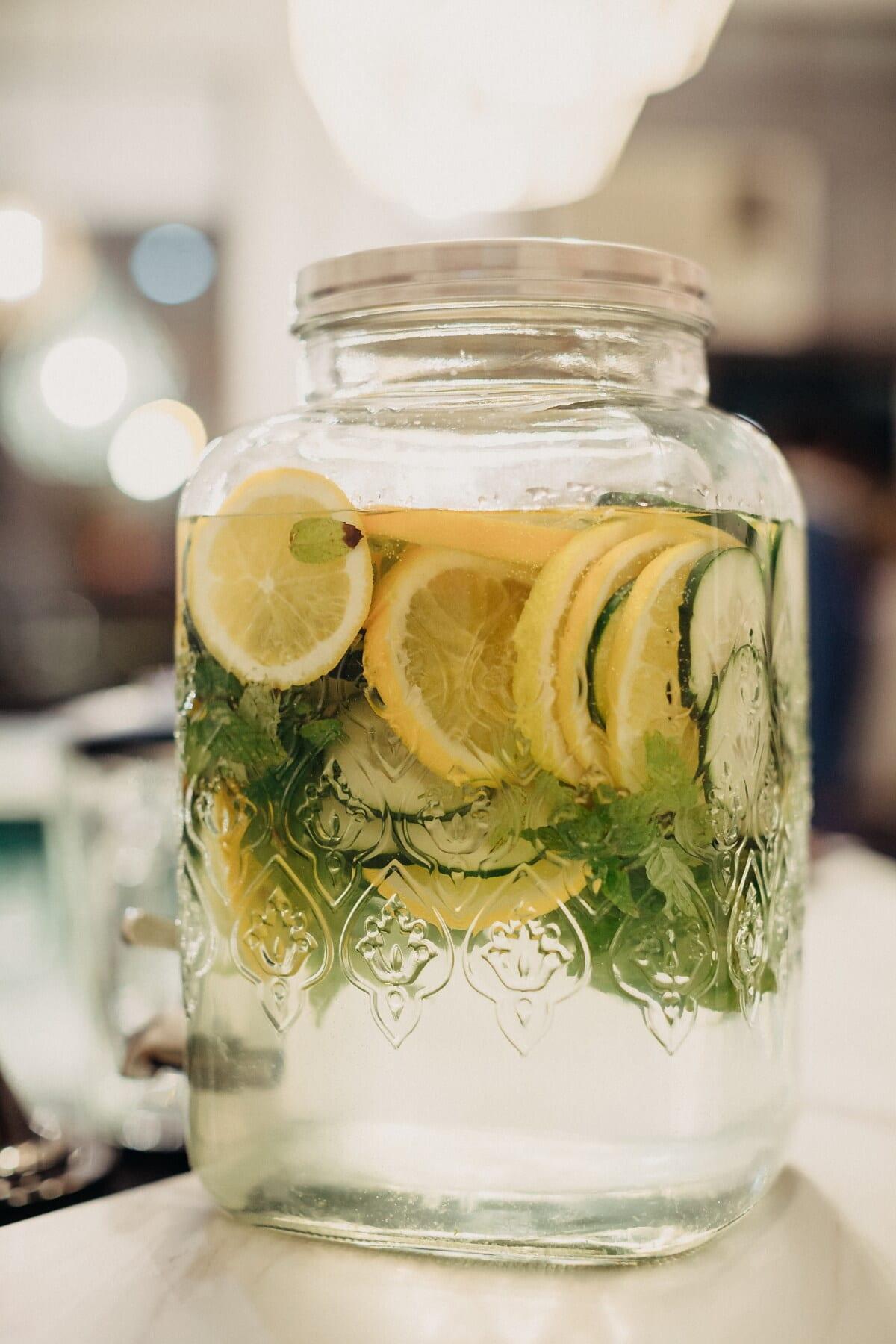 lemonade, lemon, mint, jar, fresh water, fresh, green leaves, fruit juice, juice, cold water