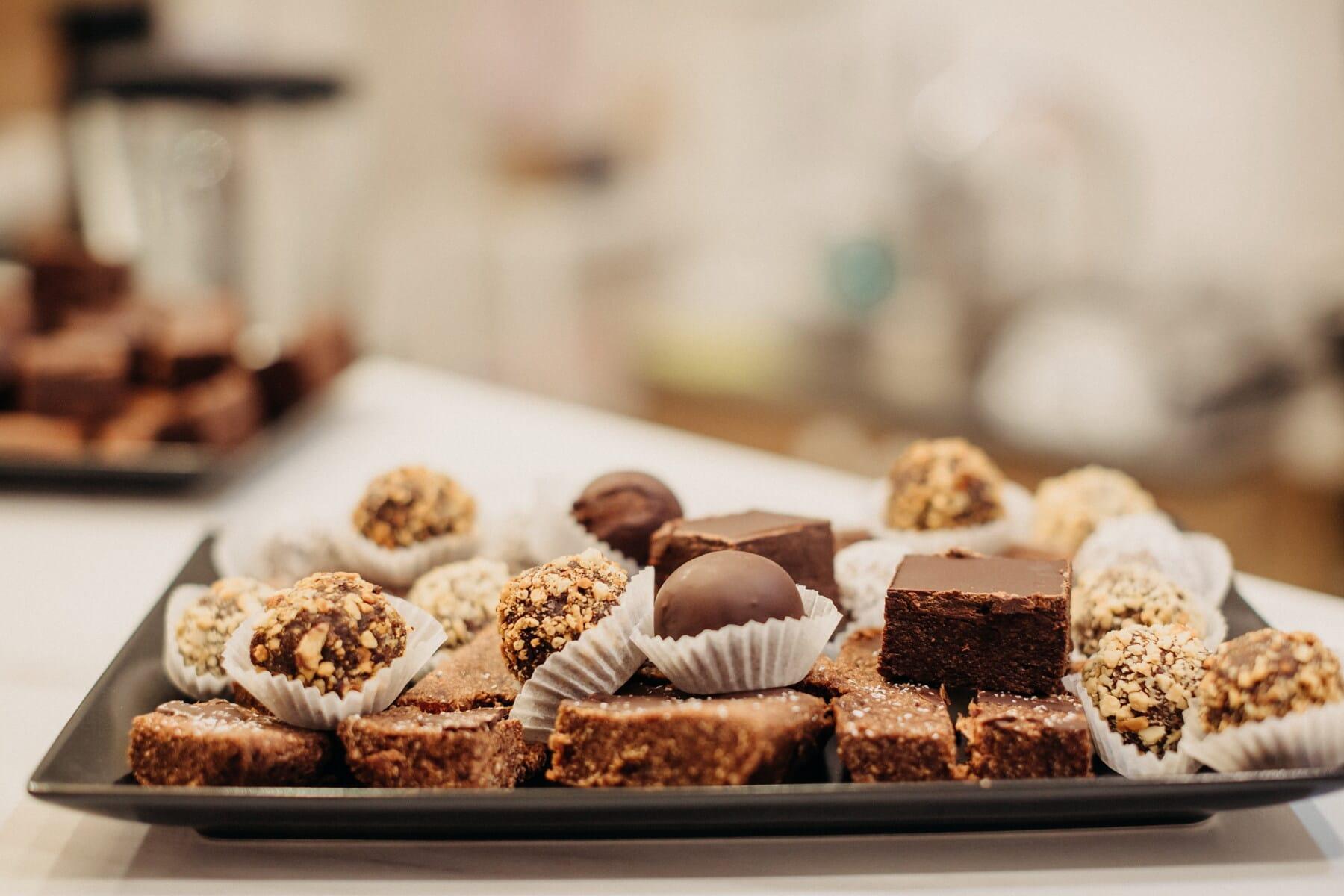 巧克力蛋糕, 自制, 饼干, 核桃, 巧克力, 美味, 餐饮, 糖果, 甜, 烤