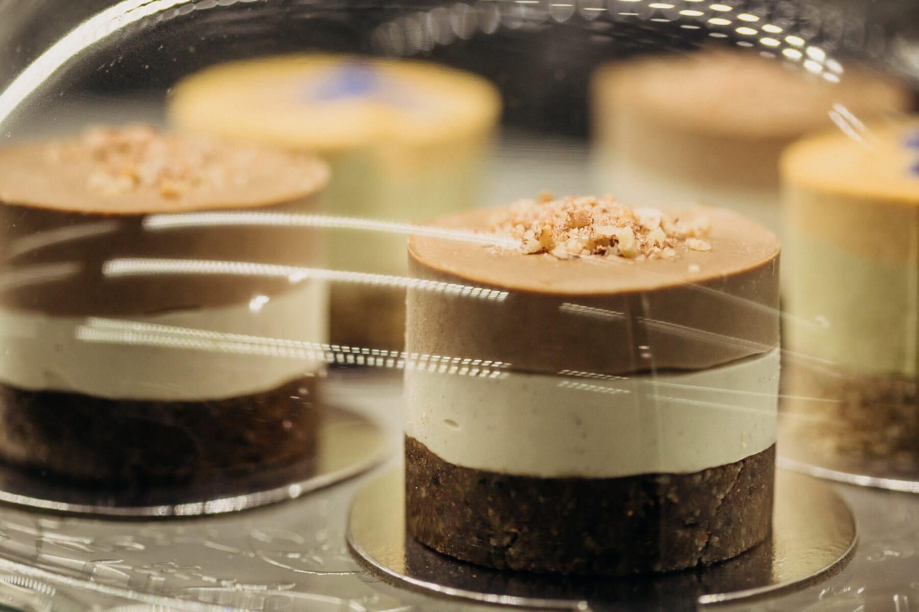 蛋糕店, 美味, 蛋糕, 下面, 玻璃, 餐饮, 巧克力, 碗, 黑暗, 烤