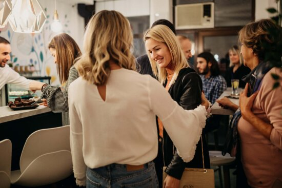 young woman, friends, meet, cafeteria, fashion, crowd, happy, woman, people, man