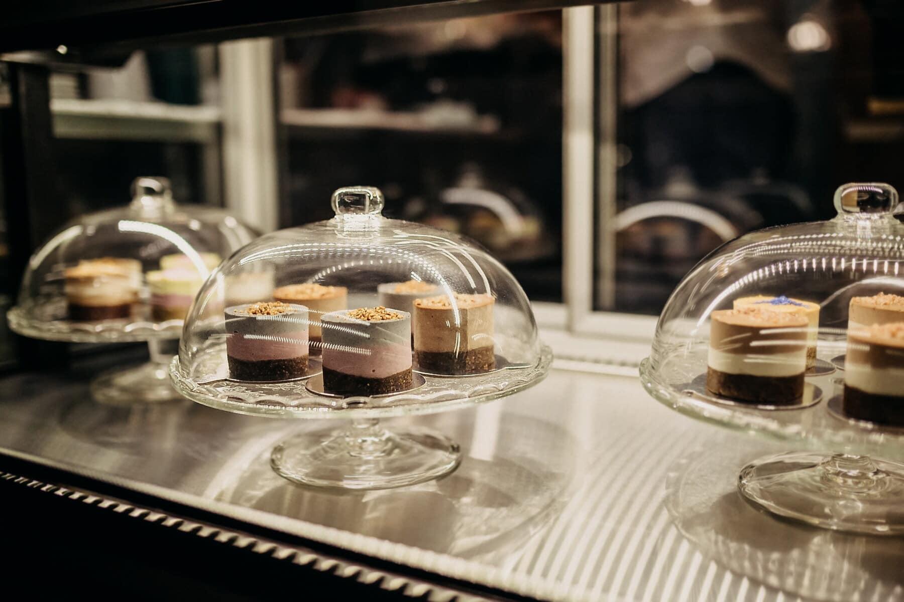taartenwinkel, Workshop, nagerecht, onder, glas, klok, Winkel, restaurant, voedsel, binnenshuis