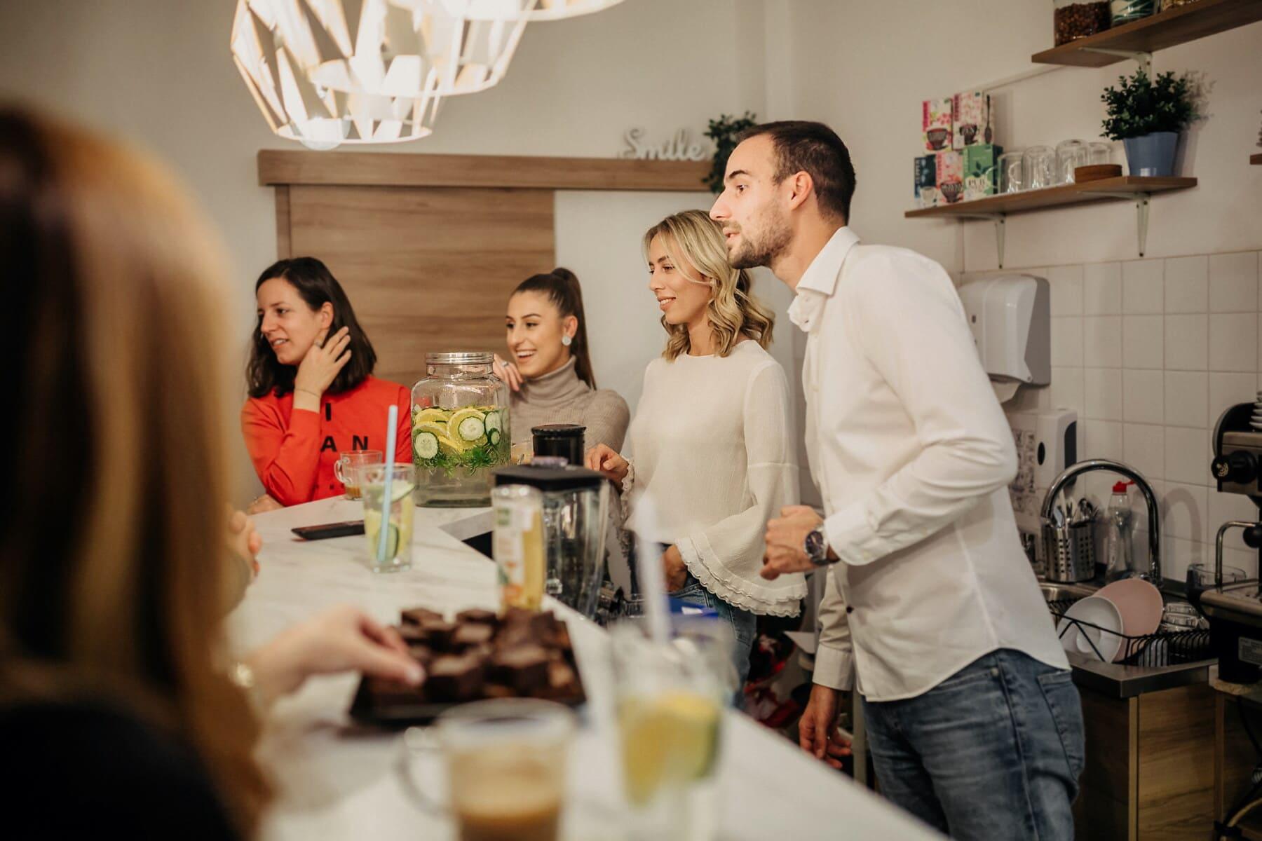 Toplantı, pastahane, keyfi, kafeterya, barmen, genç kadın, dükkâncı, Tatlı kız, Müşteri, kadın