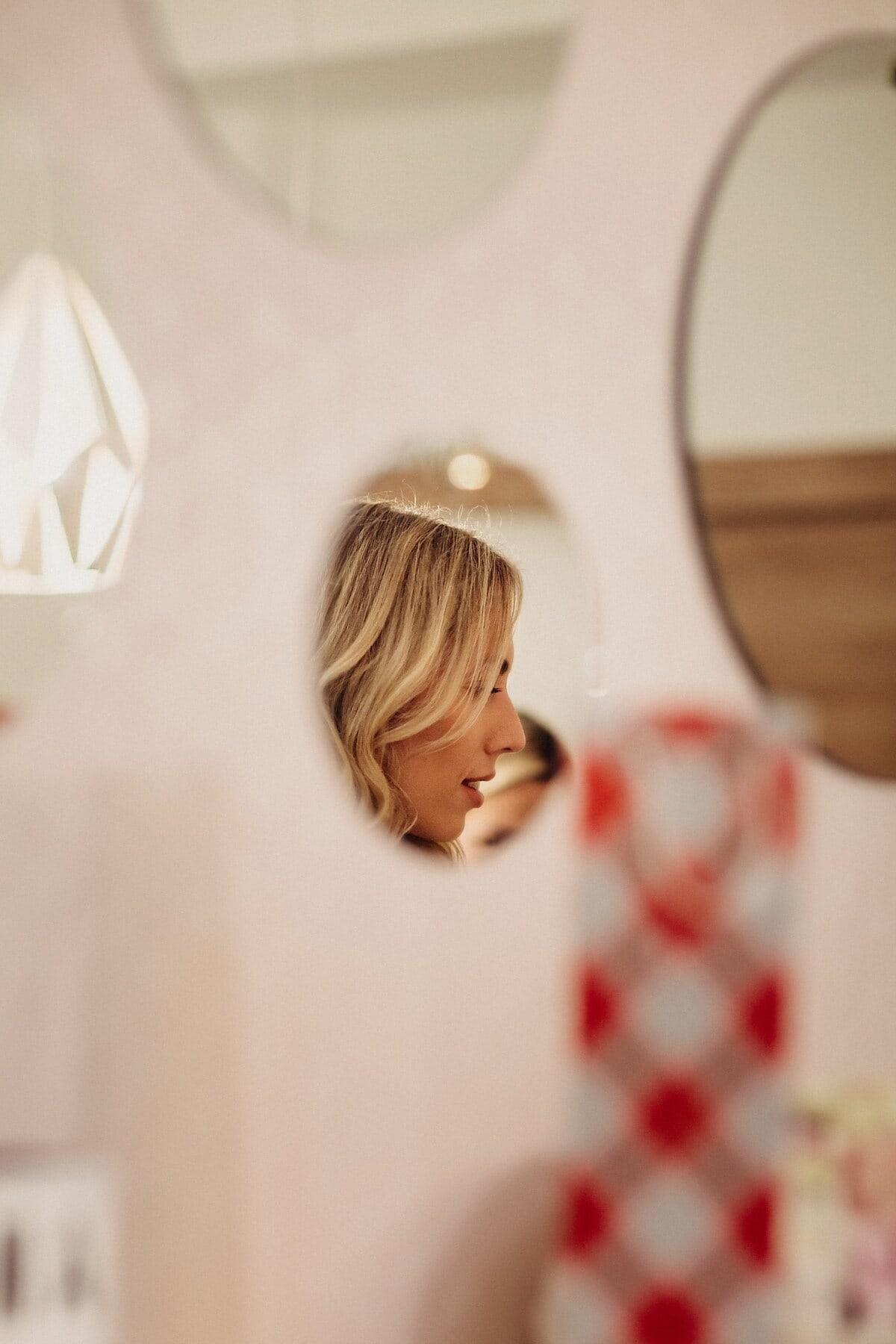 金发女郎, 年轻女子, 侧面视图, 头, 内部, 休闲, 室内, 女人, 女孩, 肖像