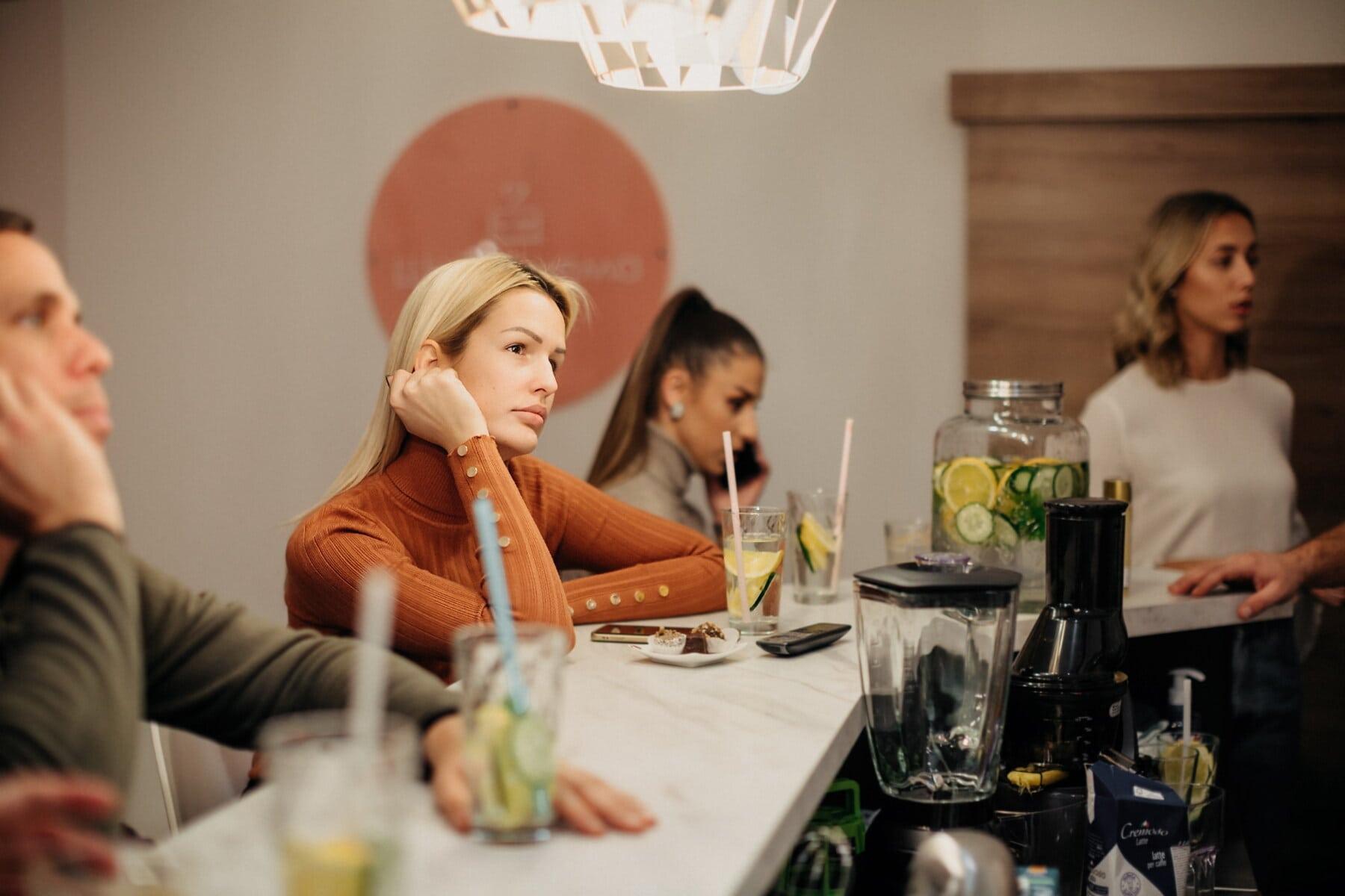 blonde, gorgeous, lemonade, cafeteria, restaurant, indoors, woman, man, togetherness, people